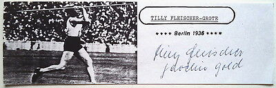Tilly Fleischer-Grote 1936 Olympic Javelin Gold Autog