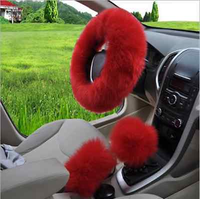 RED Australian Wool Fuzzy Auto Car Steering Wheel Cover Universal For Winter
