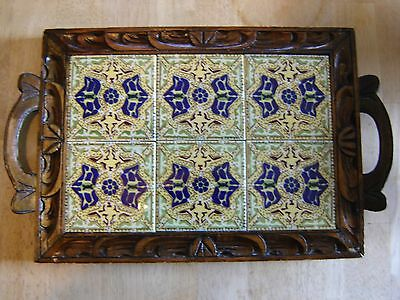 Vintage Mexican Dal Tile Carved Wooden Serving Tray Made In Mexico