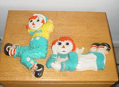 Vintage 1977 Raggedy Ann and Andy Plastic Wall Plaques Sweet
