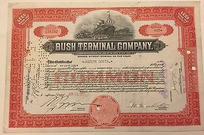 1933 Bush Terminal Company Stock Certificate Brooklyn NY  Industry City Now! Red