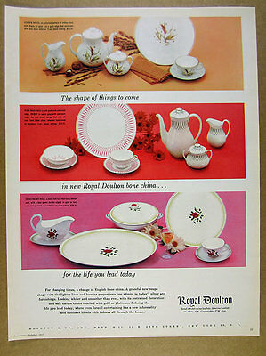 1955 Royal Doulton China Golden Maize Pink Radiance & Sweetheart Rose vintage Ad