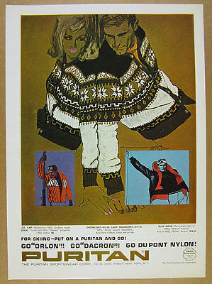 1964 Bob Peak fashion illustration art Puritan Ski Sweaters vintage print Ad