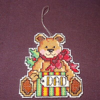 New Teddy Bear Dad Present Christmas Ornament Finished Cross Stitch Handmade