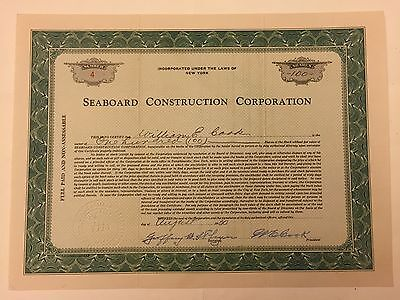 1930 Seaboard Construction Corporation Stock Certificate RARE Serial #4 New York