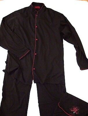 Shanghai Tang Cathay Pacific L Brown Red Soft Cotton 2-Piece Airline Pajama Set