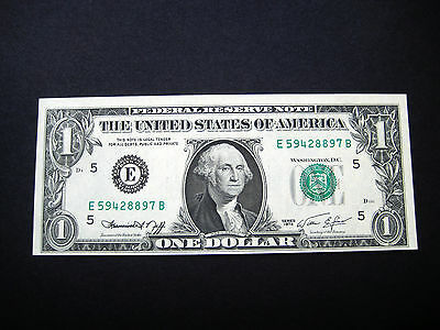 $1 1974 Richmond Federal Reserve Note***bottom Cutting Error*** Choice Unc Note