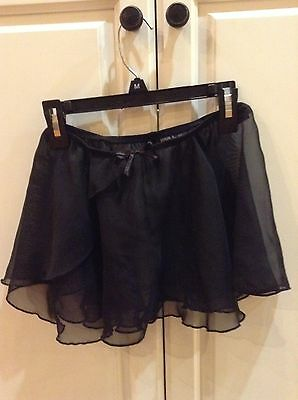 GIRLS SHEER BLACK BALLET SKIRT medium 7/8 danskin freestyle