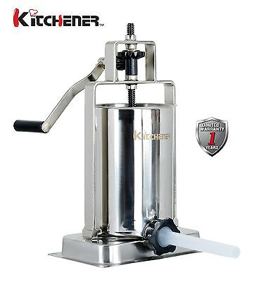 KITCHENER Stainless Steel Vertical Sausage Stuffer Filler Maker 10 lbs Home