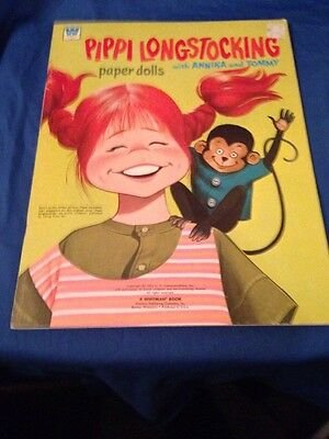 1974 UNCUT #1977 Whitman Vintage Pippi Longstocking Paper Doll Paper dolls
