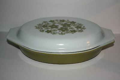 1Q Pyrex Divided Casserole Olive Green with Lid