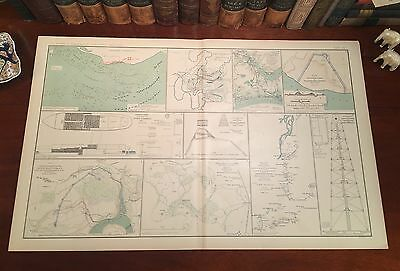 Large Original Antique Civil War Map NORTH CAROLINA Blockade VIRGINIA Defenses