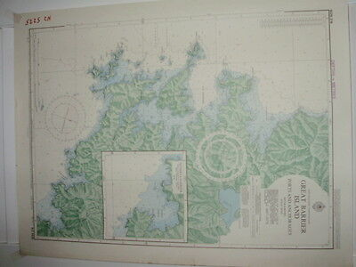 Vintage Nautical Map Great Barrier Island New Zealand North Island