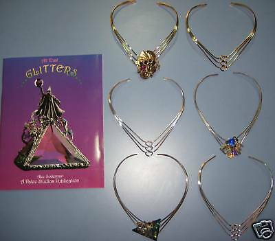 """12 SILVER NECKLACES 4 STAINED GLASS JEWELRY, + GLITTERS""""  DIY book, $75 value"""