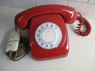 1980 Retro Lacquer Red Telephone Fully Restored by Tech.  Indefectible Quality.