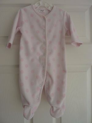 Baby Girl's Pink Polka Dot Fleece Sleepsuit by F&F at Tesco's Size 0-3 Months
