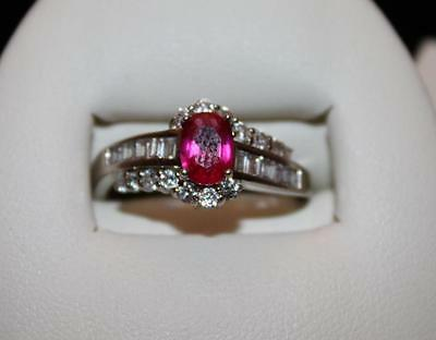 Vtg 925 Sterling Silver Oval Hot Pink Stone & Cz Ring Unique  Sz 9.25 (S102)