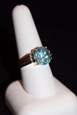 Vintage Silver 925 Oval Light Blue & Dark Blue Stone Statement Ring Size 9 (S105