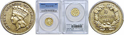 1860-S $3 Gold Coin PCGS XF-45