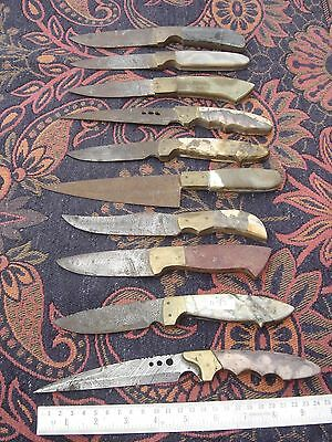10 lot old hunting Damascus steel knife blank blade, different stone handle 1193
