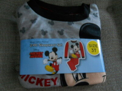 """New~Boys Size 3T """"mickey Mouse"""" 2-Pc. Long Sleeve Flannel Pajama Set!!!"""