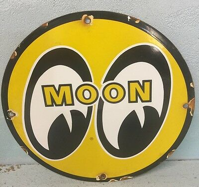 Moon  Equipped  Porcelain Metal Sign