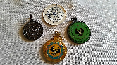VINTAGE BADGES X 4 . 1 paper Life Saving & 2 metal swimming & 1 metal lifesaving