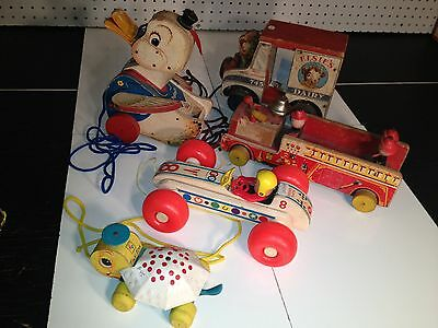 ~Lot of 5 Fisher Price Vintage Pull Toys-Elsies,Dr.Doodle,Winky,Bouncy,Tiny Tim~