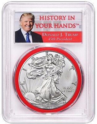 2017 TRUMP Silver Eagle FIRST STRIKE PCGS MS-69 RED GASKET PRESALE