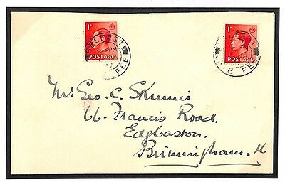 dbL163 1937 GB IRELAND LATE MAIL *Belfast Late Fee* CDS Rare KEVIII Cover Usage