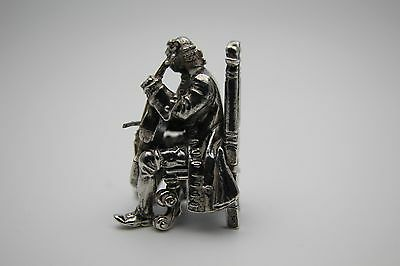 Antique Small Continental Solid Silver Figure Of A Classical Cello Player
