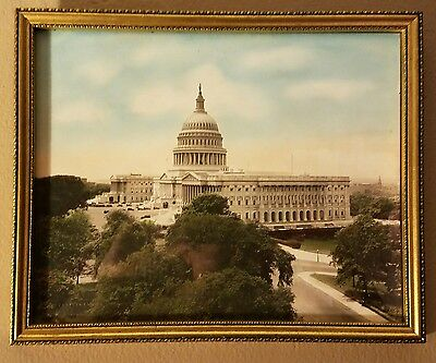 Vintage Hand Colored Photograph in Permanent oil by Buckingham framed US Capitol
