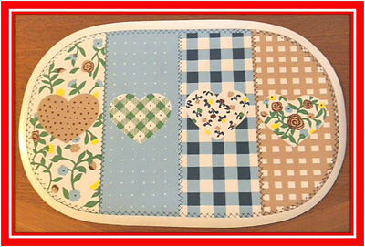 New! Set of 6 Oval Kitchen Placemats Place Mats Dinner Table Decor Heart Design