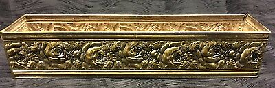 """Vintage Brass Planter Window Box with Repousse Roses Flowers 18"""" Long Rare"""