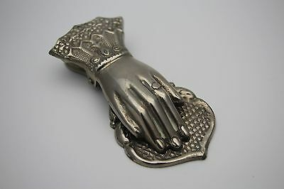 Hand Shape Victorian Style Nickel Silver Plated Paper Clip / Notes Towel Holder