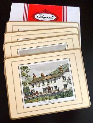 """Vintage Pimpernel Traditional Placemats """"Old English Inns""""  4 Scenes"""