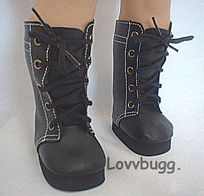 "Black High Lace Boots for 18"" American Girl Doll Clothes  Widest Selection!"