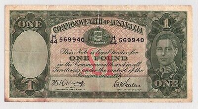 1942 One Pound Commonwealth Of Australia Banknote Circulated Armitage Mcfarlane