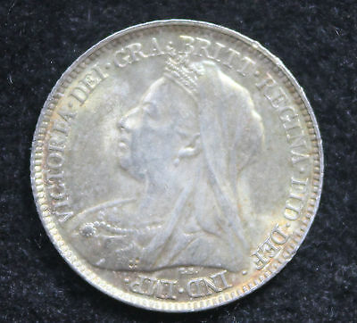 Queen Victoria 1898  Silver Sixpence 6d  AUNC