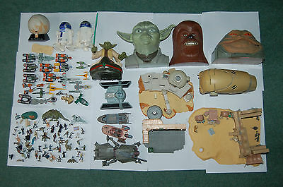 STAR WARS Vintage set of Micro machines character heads ships figure bundle