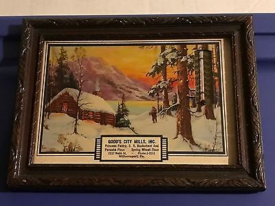 Goods City Mills WILLIAMSPORT PA Advertising Lithograph Framed Print Thermometer