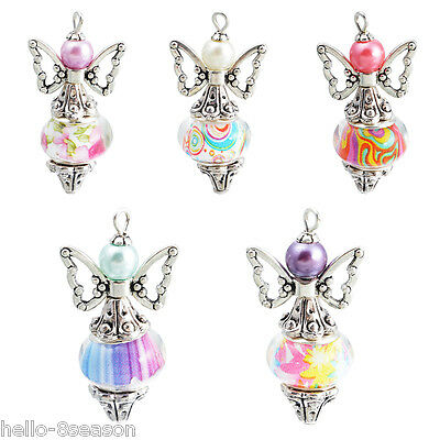 15 PCs Fixed Mixed Angel Multicolor Pattern Metal Pendants Jewelry 35x18mm