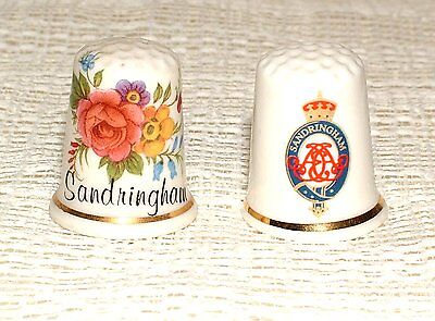 2 Topographical Bone China Thimbles SANDRINGHAM (incl Sampson Sights of Britain)
