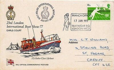 1977 International Boat Show special cover . Trafalgar Square Cancellation