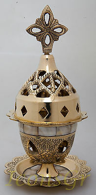 Orthodox Oil Lamp Greek Byzantine Brass Church Table  With Cross Perl - 9353MOP