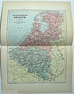 Original 1895 Map of The Netherlands & Belgium by  W & A.K. Johnston