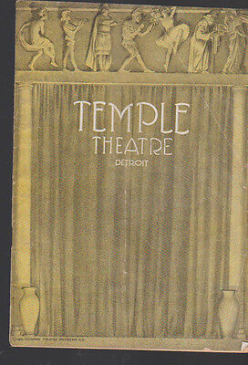 Temple Theatre Detroit Program November 3 1919 Max Gruber Arthur Stone