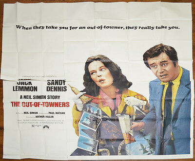 THE OUT OF TOWNERS (1970) Cinema 6 Sheet Film Poster - Jack Lemmon, Sandy Dennis