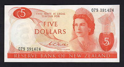 New Zealand  P-165b. (1968-75) Five Dollars. Wilks.. Last Prefix 079. UNC - RARE