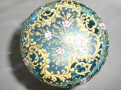 Late 19th Century hand panted glass trinket box
